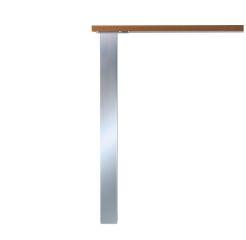 LUISINA - Lot de 8 pieds de table carrés en acier aspect inox H 700 mm - 80 x 80 mm