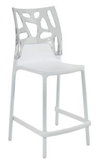 LUISINA - Cody - Tabouret Cody 65 cm avec dossier polycarbonate transparent et piètement polypropylène blanc