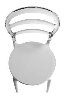LUISINA - Barby - Chaise Barby avec dossier polycarbonate transparent et piètement polypropylène blanc