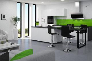LUISINA - Justy - Tabouret Justy réglable avec assise cuir PVC noir et piètement métal chromé