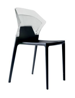LUISINA - Dave - Chaise Dave avec dossier polycarbonate transparent et piètement polypropylène noir