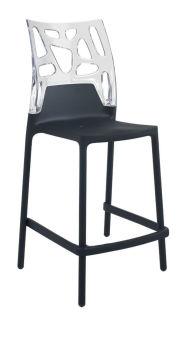 LUISINA - Cody - Tabouret Cody 65 cm avec dossier polycarbonate transparent et piètement polypropylène noir