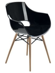 LUISINA - Charlie - Chaise Charlie avec assise polycarbonate noir et piètement bois de hêtre