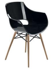LUISINA - Charlie - Chaise avec assise polycarbonate noir et piètement bois de hêtre