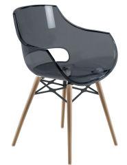 LUISINA - Charlie - Chaise avec assise polycarbonate gris fumé et piètement bois de hêtre