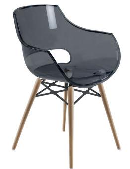 LUISINA - Charlie - Chaise Charlier avec assise polycarbonate gris fumé et piètement bois de hêtre