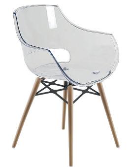LUISINA - Charlie - Chaise Charlie avec assise polycarbonate transparent et piètement bois de hêtre