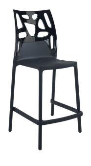 LUISINA - Cody - Tabouret Cody 65 cm avec dossier polycarbonate noir et piètement polypropylène noir