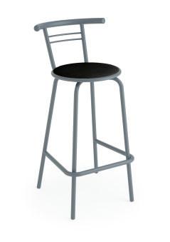 LUISINA - Jack - Tabouret Jack 66,5 cm avec assise vinyle noir et piètement métal alu