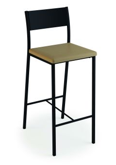 LUISINA - Ted - Tabouret Ted 66,5 cm avec assise vinyle fossil et piètement métal noir