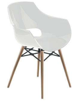 LUISINA - Charlie - Chaise Charlie avec assise polycarbonate blanc et piètement bois de hêtre