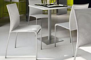 LUISINA - Maïa + - Chaise avec assise textile synthétique gris et piètement métal gris alu