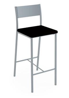 LUISINA - Ted - Tabouret Ted 66,5 cm avec assise vinyle noir et piètement métal alu