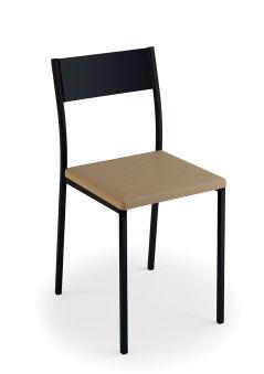 LUISINA - Ted - Chaise Ted avec assise vinyle fossil et piètement métal noir