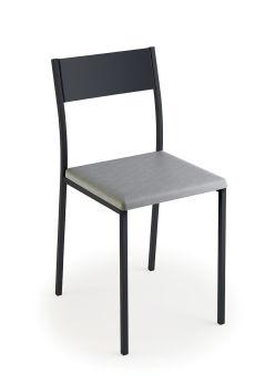 LUISINA - Ted - Chaise Ted avec assise vinyle gris trafic et piètement métal graphite