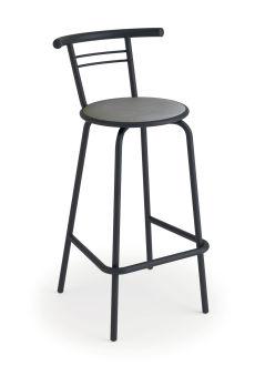 LUISINA - Jack - Tabouret Jack 66,5 cm avec assise vinyle gris trafic et piètement métal graphite