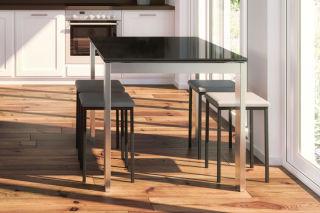 LUISINA - Ted - Tabouret 48 cm avec assise vinyle gris trafic et piètement métal graphite