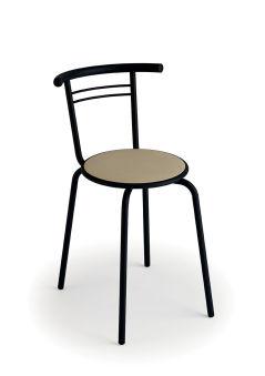 LUISINA - Jack - Chaise Jack avec assise vinyle fossil et piètement métal noir
