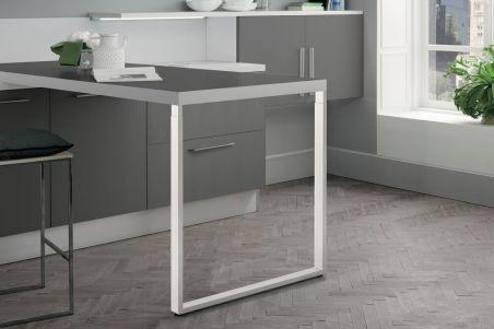 LUISINA - Pied de table rectangulaire télescopique en acier coloris blanc H 870 mm