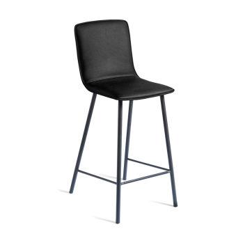 LUISINA - Judith - Tabouret Judith 67,5 cm avec assise vinyle noir et piètement métal noir grainé