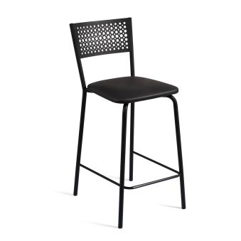 LUISINA - Scarlett - Tabouret Scarlett 68 cm avec assise vinyle noir et piètement métal noir