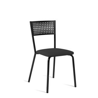 LUISINA - Scarlett - Chaise Scarlett avec assise vinyle noir et piètement métal noir grainé