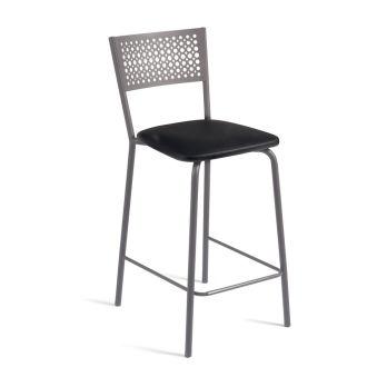 LUISINA - Scarlett - Tabouret Scarlett 68 cm avec assise vinyle noir et piètement métal taupe brillant