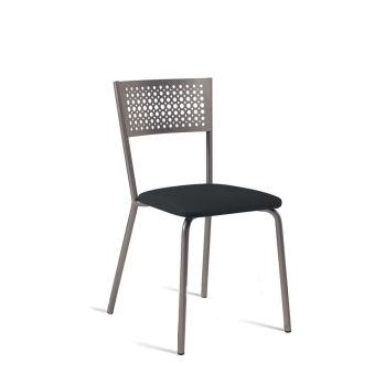 LUISINA - Scarlett - Chaise Scarlett avec assise vinyle noir et piètement métal taupe brillant