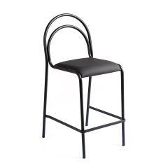 LUISINA - Gloria - Tabouret Gloria 68 cm avec assise vinyle noir et piètement métal noir