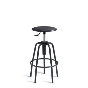 LUISINA - Léon - Tabouret Léon réglable avec assise vinyle noir et piètement métal noir