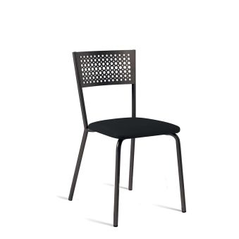 LUISINA - Scarlett - Chaise Scarlett avec assise vinyle noir et piètement métal brun satiné