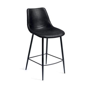 LUISINA - Oscar - Tabouret Oscar 67,5 cm avec assise polyester noir vintage et piètement métal noir grainé