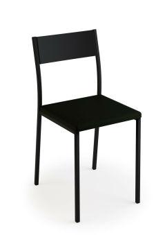 LUISINA - Ted - Chaise Ted avec assise vinyle noir et piètement métal noir