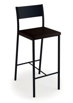 LUISINA - Ted - Tabouret Ted 66,5 cm avec assise vinyle noir et piètement métal noir