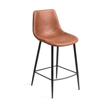 LUISINA - Oscar - Tabouret Oscar 67,5 cm avec assise polyester camel vintage et piètement métal noir grainé