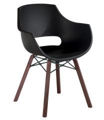 LUISINA - Charlie - Chaise Charlie avec assise polycarbonate noir et piètement bois iroko